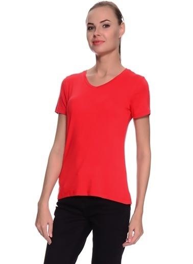 Limon Company Noos V Yaka Kısa Kollu Standart Fit Viskoz Kadın Tshirt Kırmızı